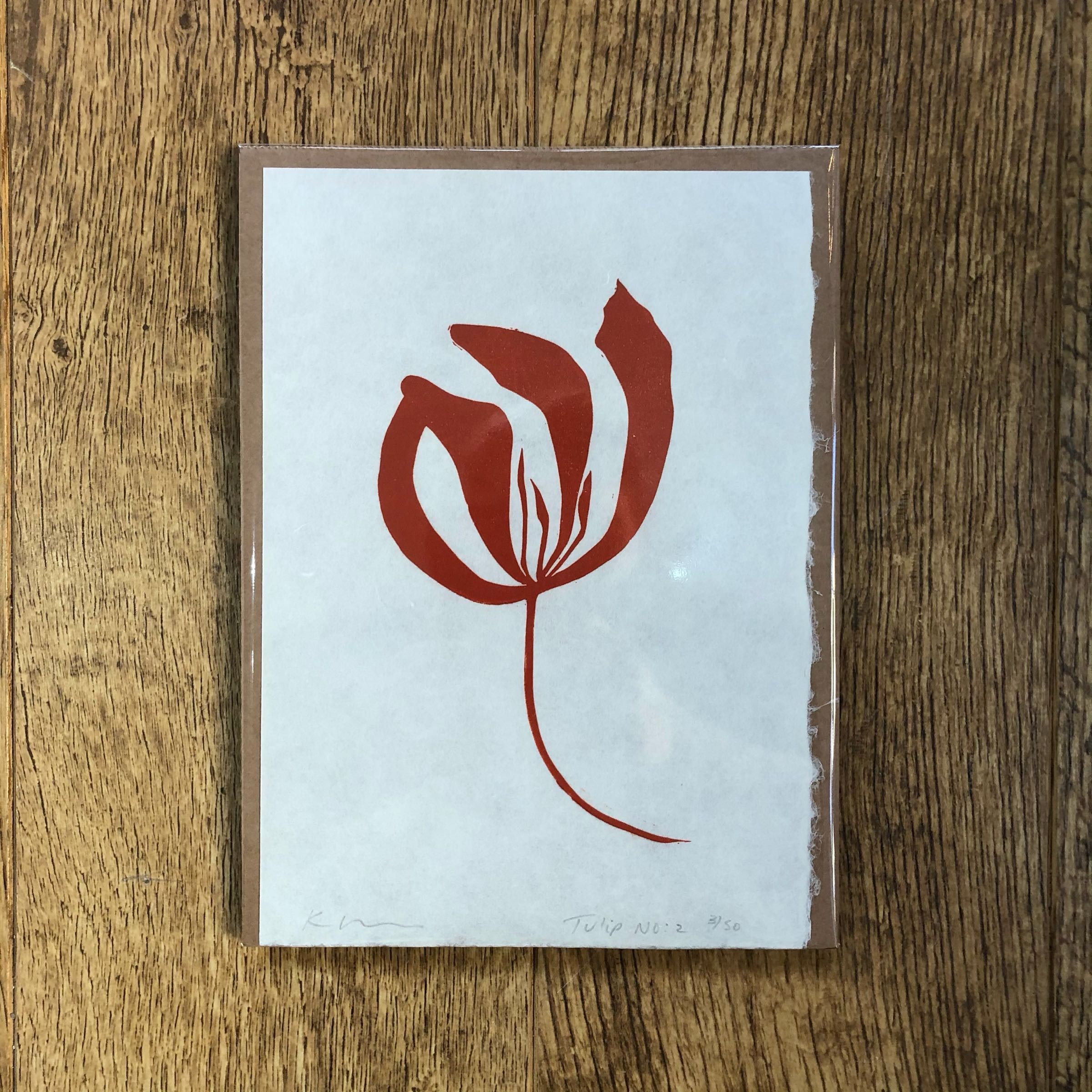 Tulip No.2 single study lino print in Rust by Kathy Hutton