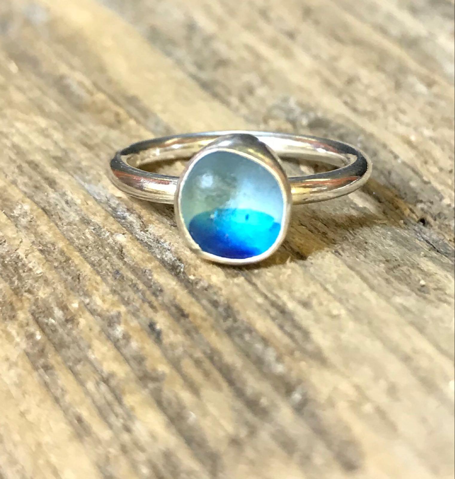 RE198 Eco-silver Seaham Multi Blue Sea Glass Ring UK K