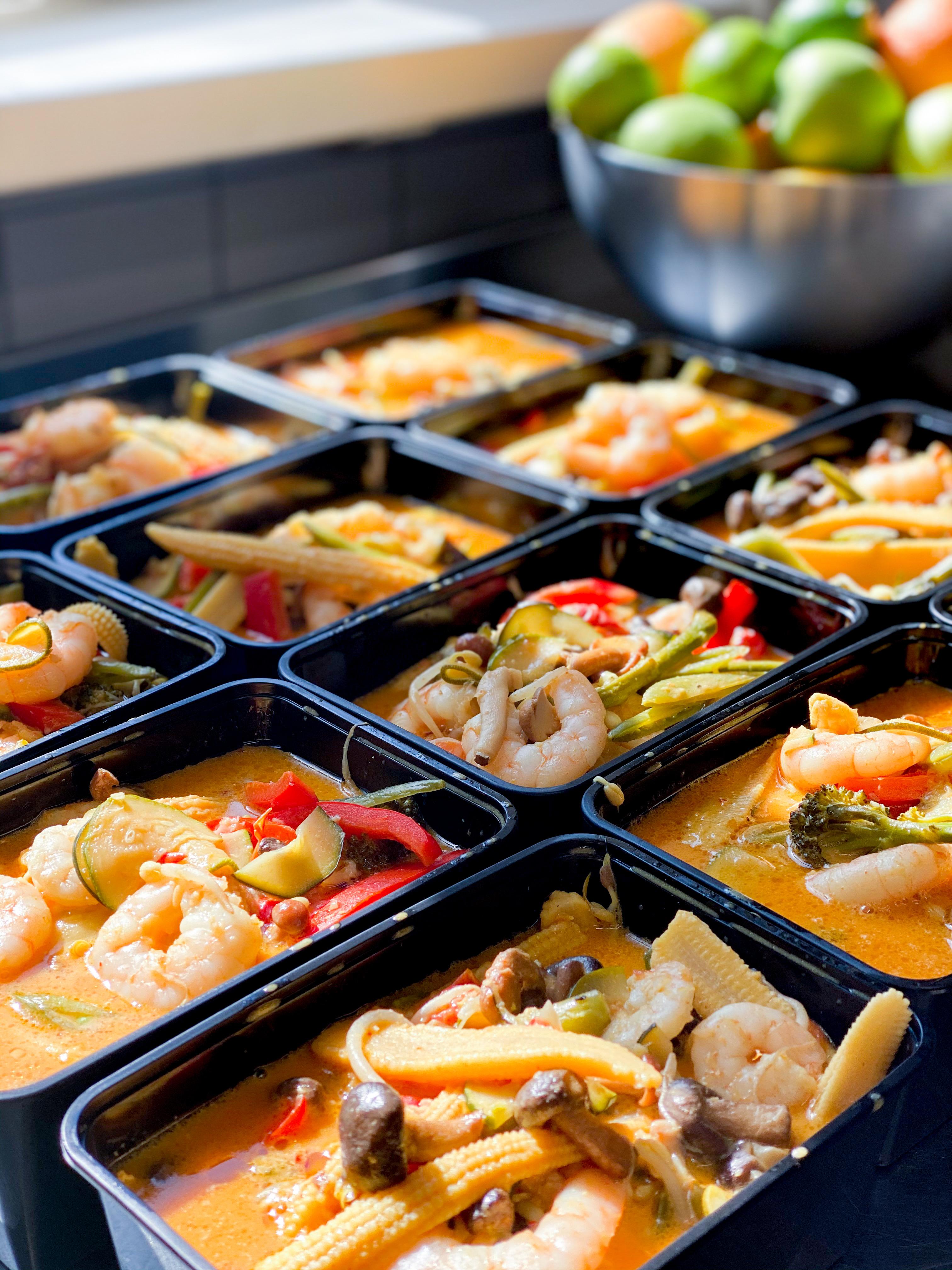 Röd thai curry med scampi