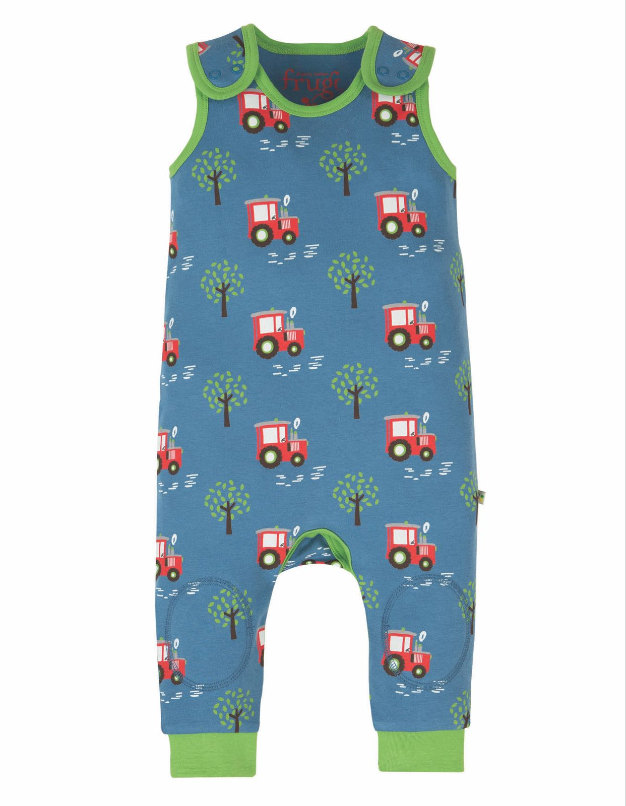 Frugi Kneepatch Dungaree, Tractor Fields