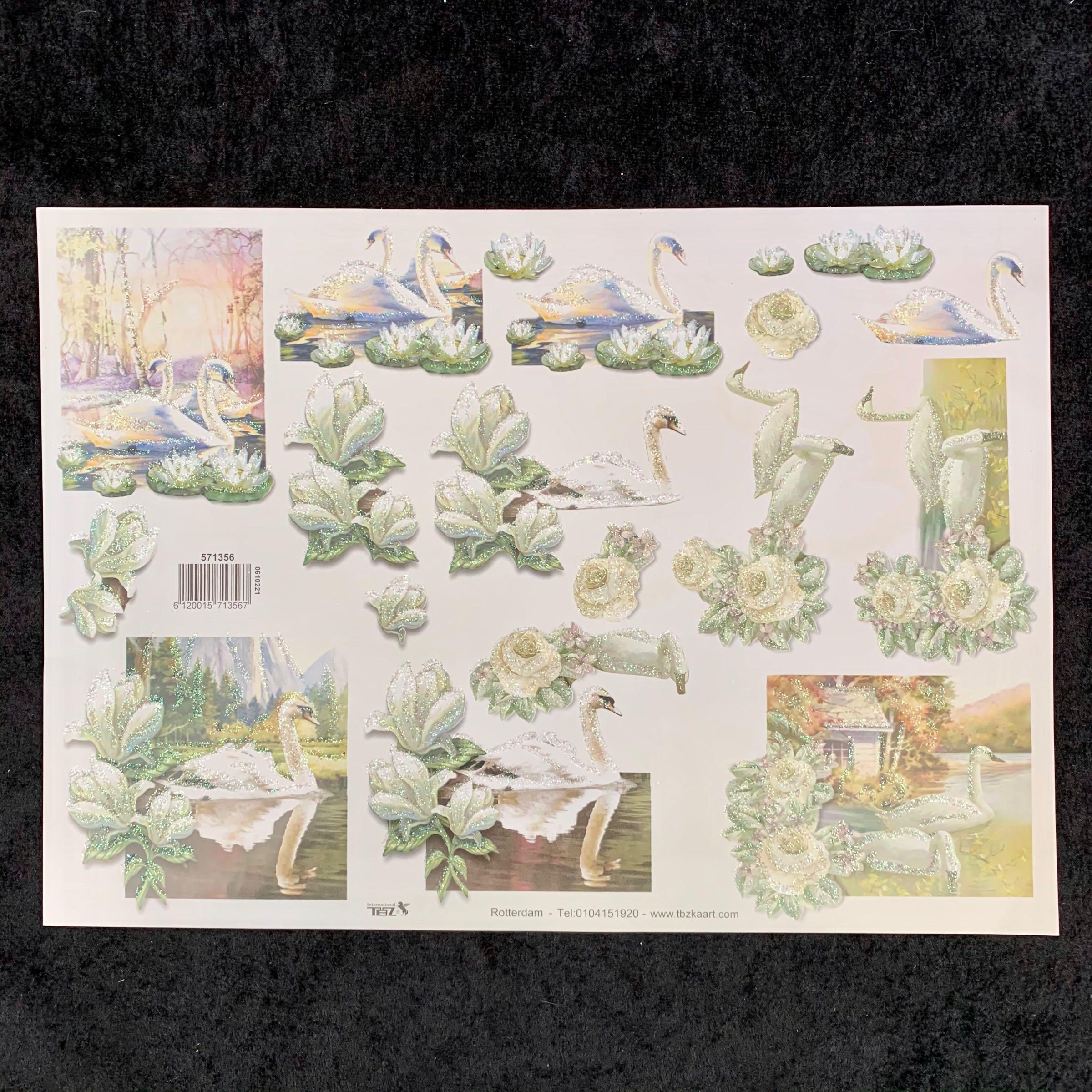 3D Klippark 571356, svane tema m/ glitter