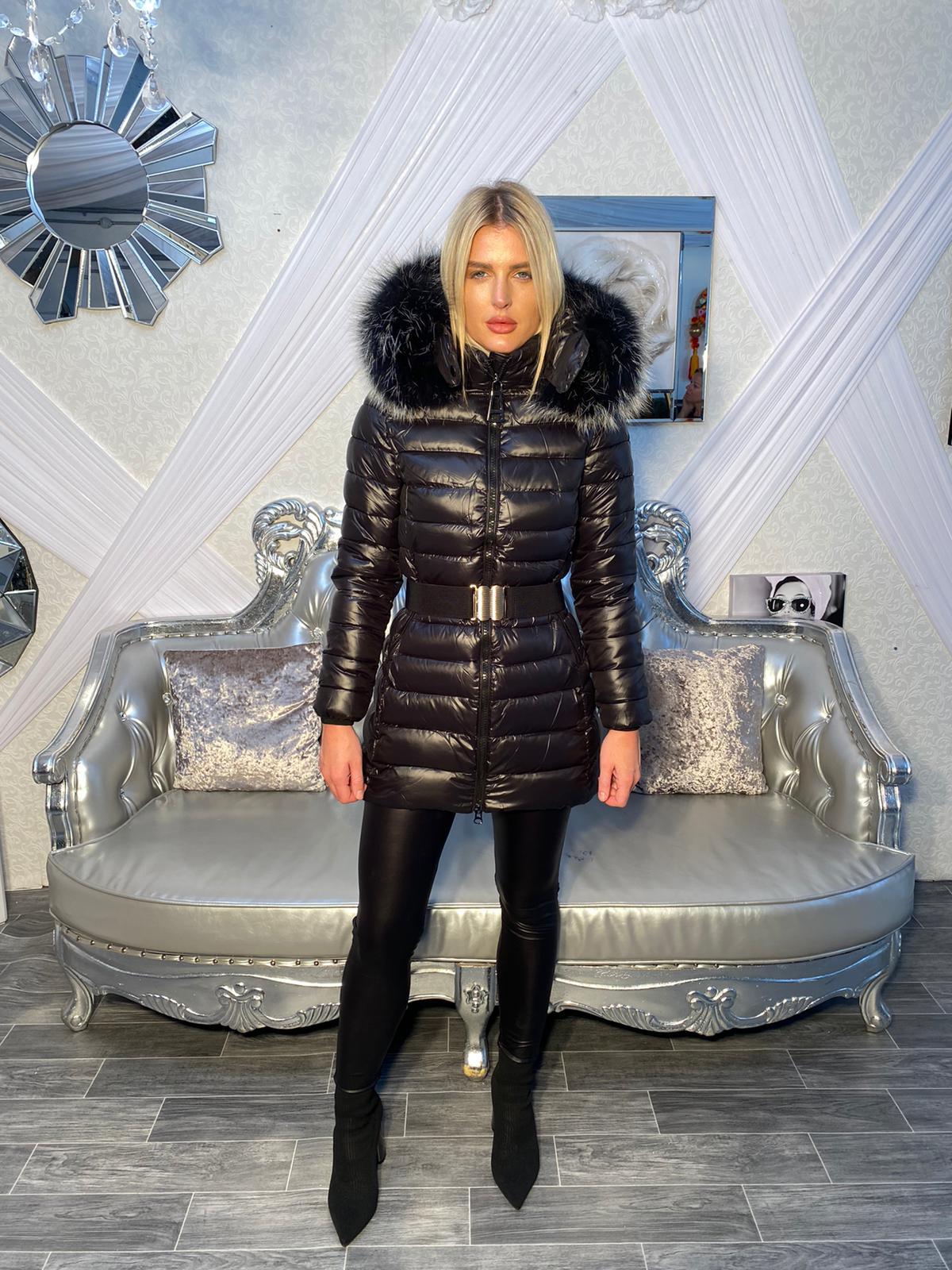 Laura Jane Paris 'Chamonix' Fox fur coat (Black with silver fox)