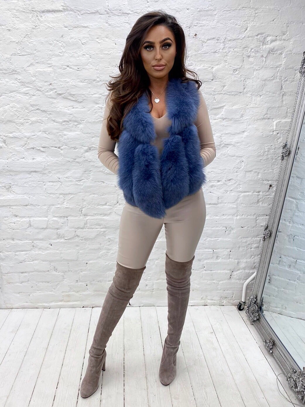 Laura Jane Paris 'Moscow' fox fur gillet in blue pearl