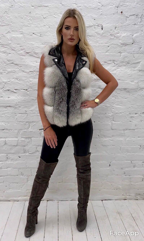 Laura Jane Paris Luxury Cross Fox And Leather Vest (Wild Silver)