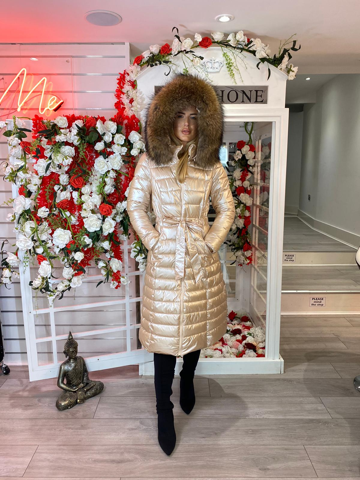 Laura Jane Paris 'Val Thorens' Luxury Xlong Coat in royal gold with natural