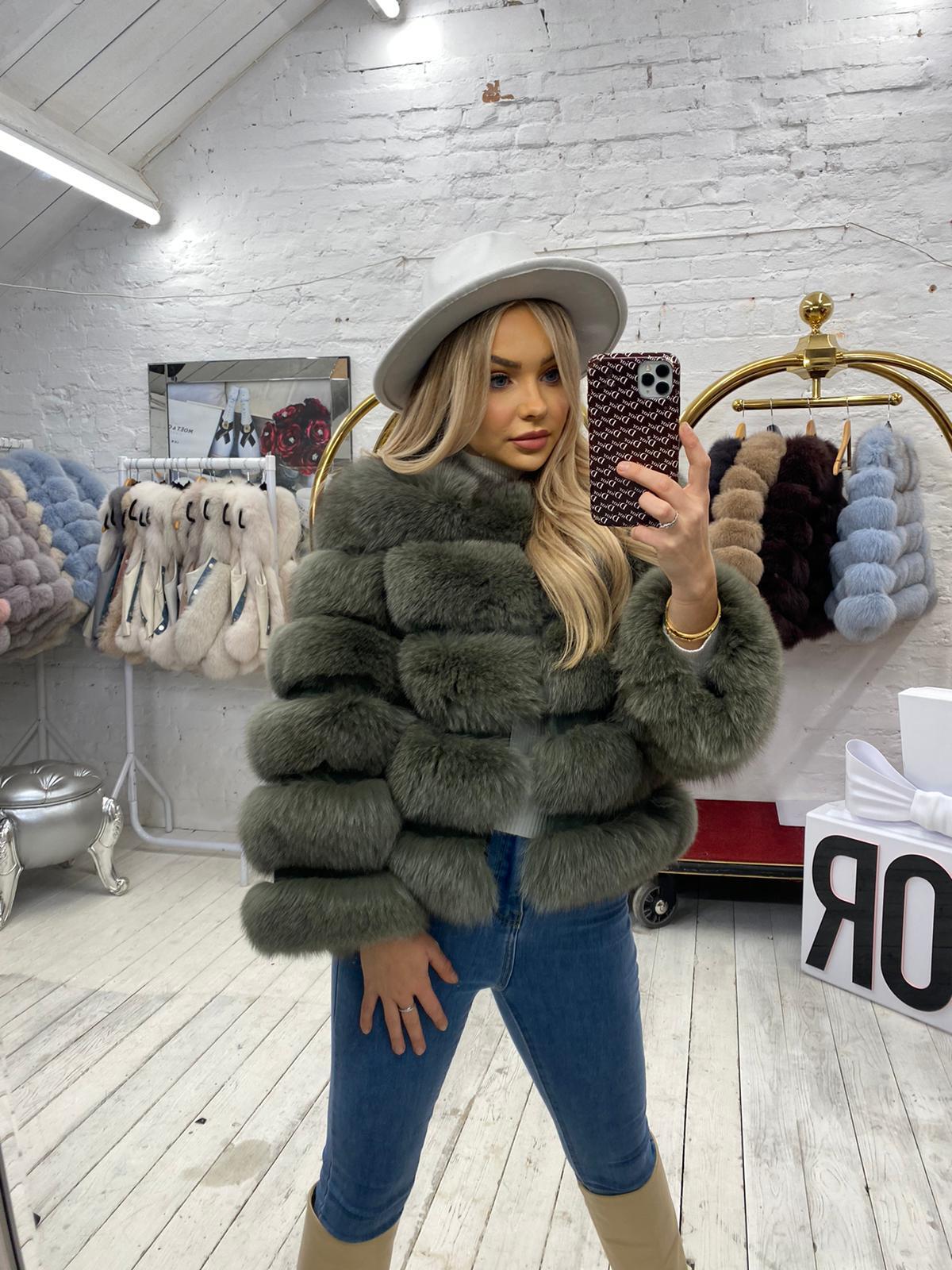 Laura Jane Paris fox Fur Coat Kaki