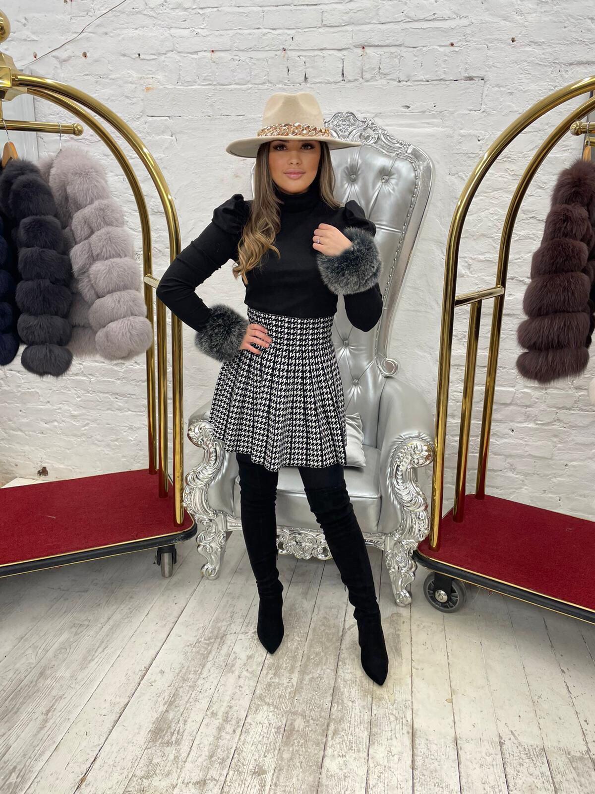 Laura Jane Paris Luxury Slap Fox Fur cuff in Royal Silver Fox