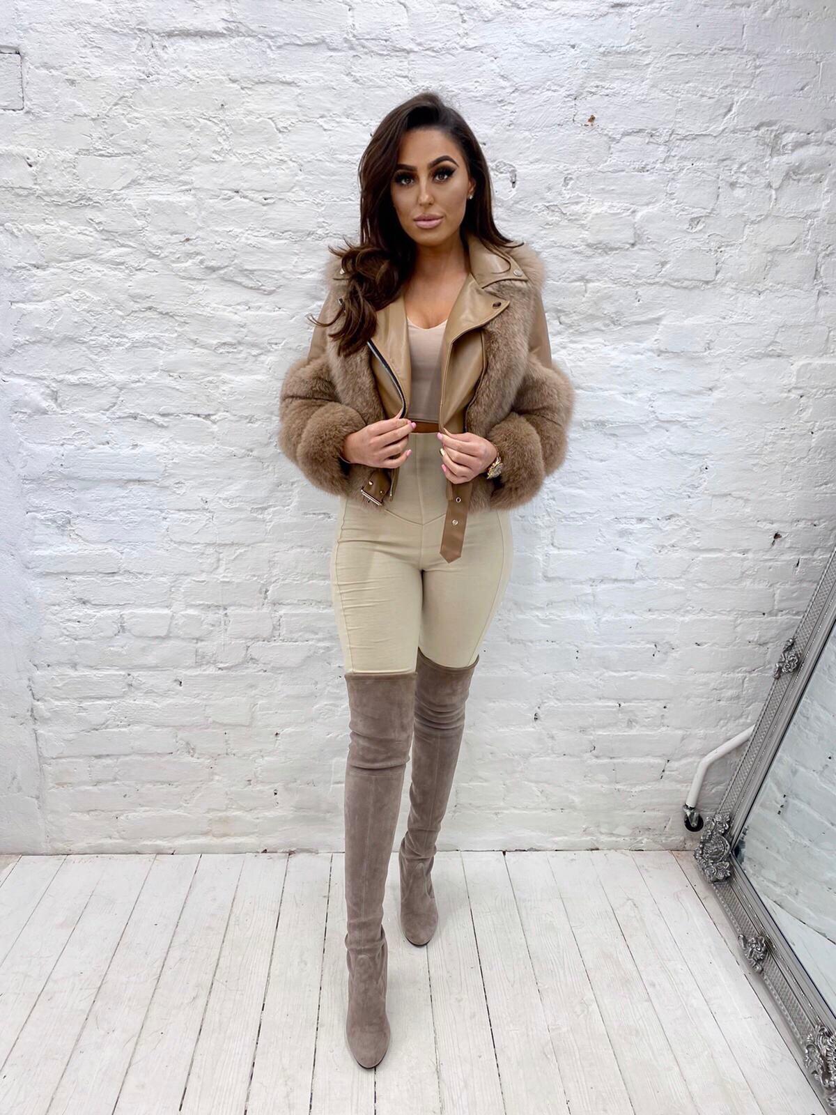 Laura Jane Paris 'Bond Street' Luxury Leather jacket Bige