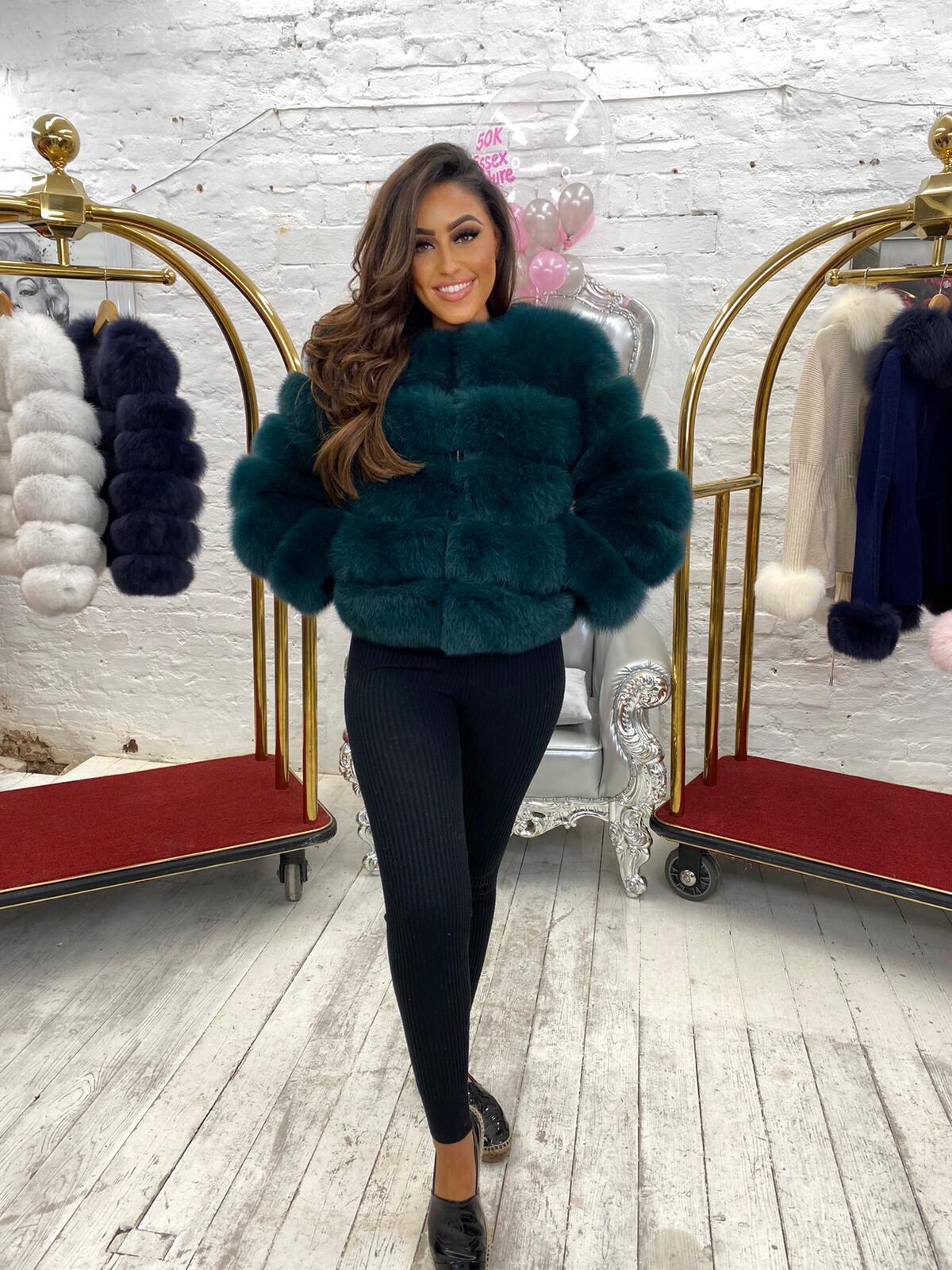 LIMITED EDITION Laura Jane Paris Fox Fur Coat in Royal Green