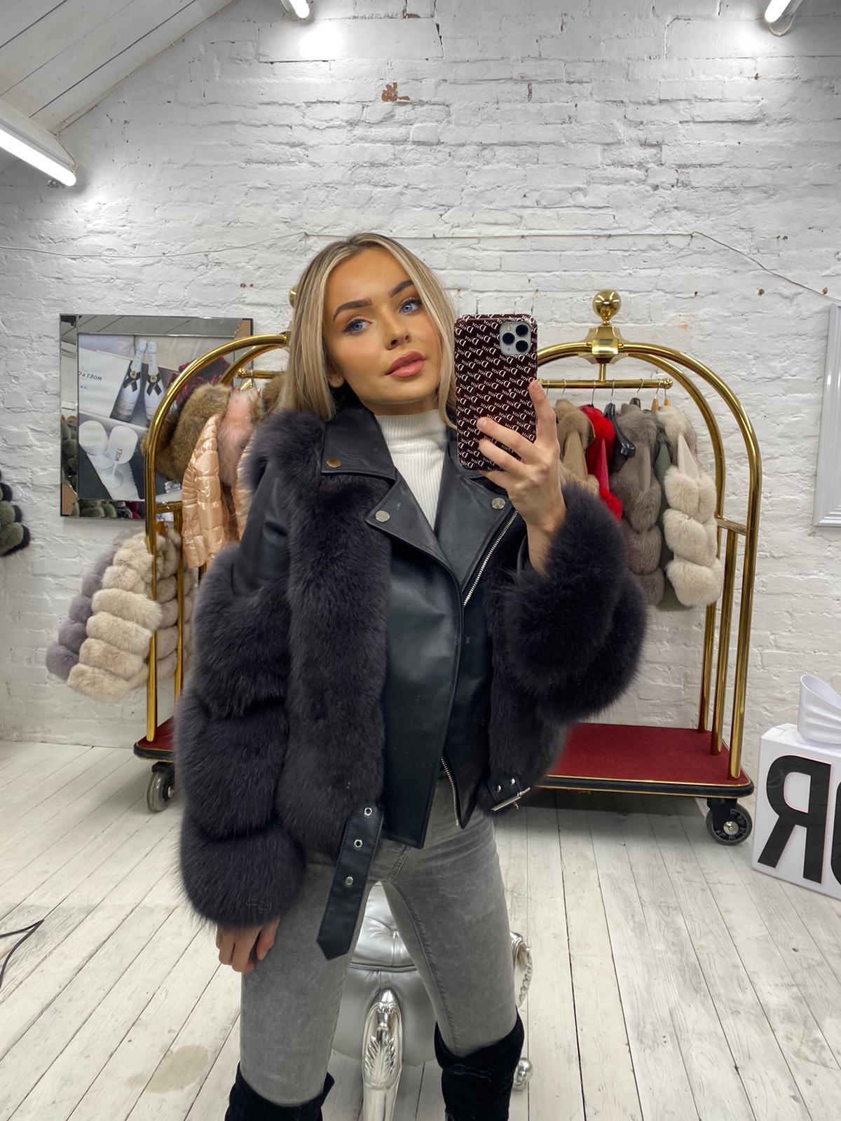 'Niamh' Laura Jane Paris  jacket in dark grey and Grey