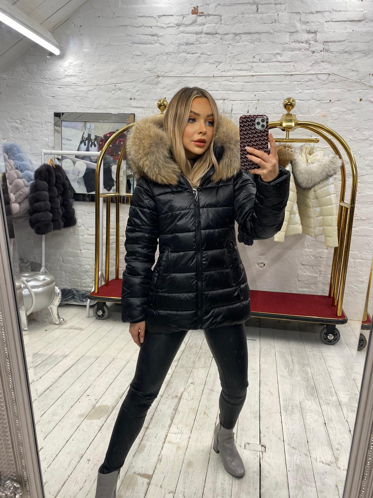 Laura Jane Paris Limited Edition 'Milan' Fox Fur Coat Black with natural