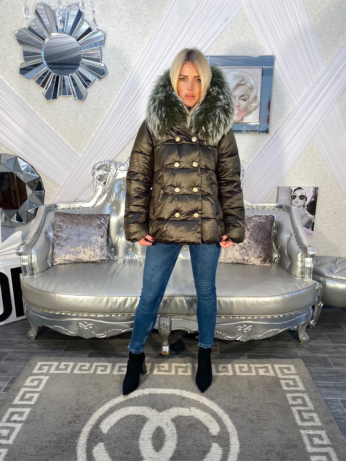 Laura Jane Paris 'Everest' Coat kaky with kaky fur