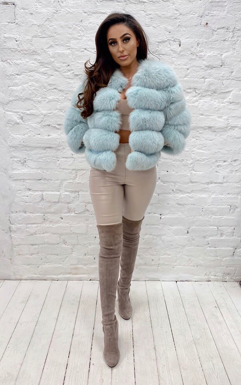 Laura Jane Paris fox fur coat in royal mint