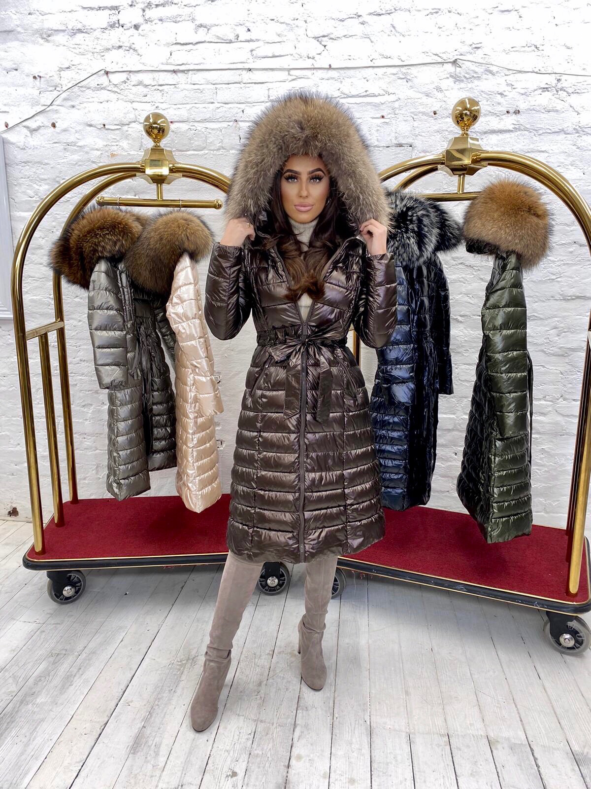 Limited Edition Laura Jane Paris 'Val Thorens' Luxury long Coat brown with brown
