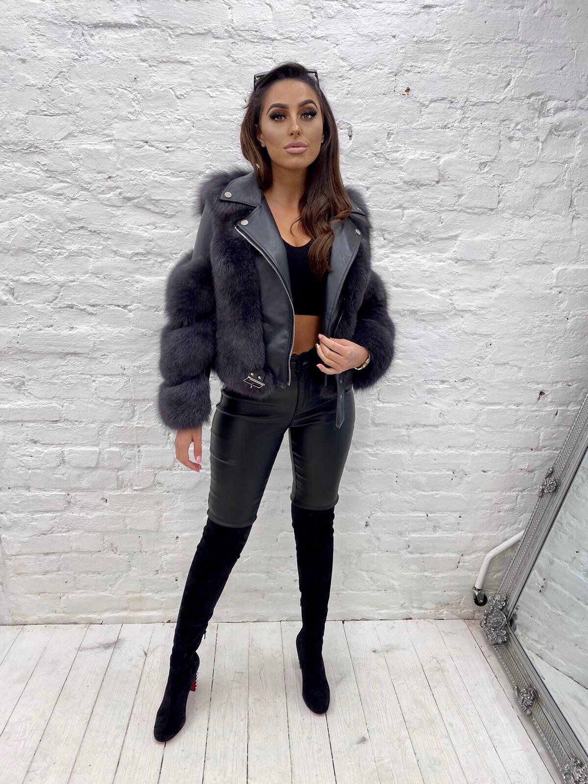 Laura Jane Paris 'Bond Street' Luxury Leather jacket dark grey