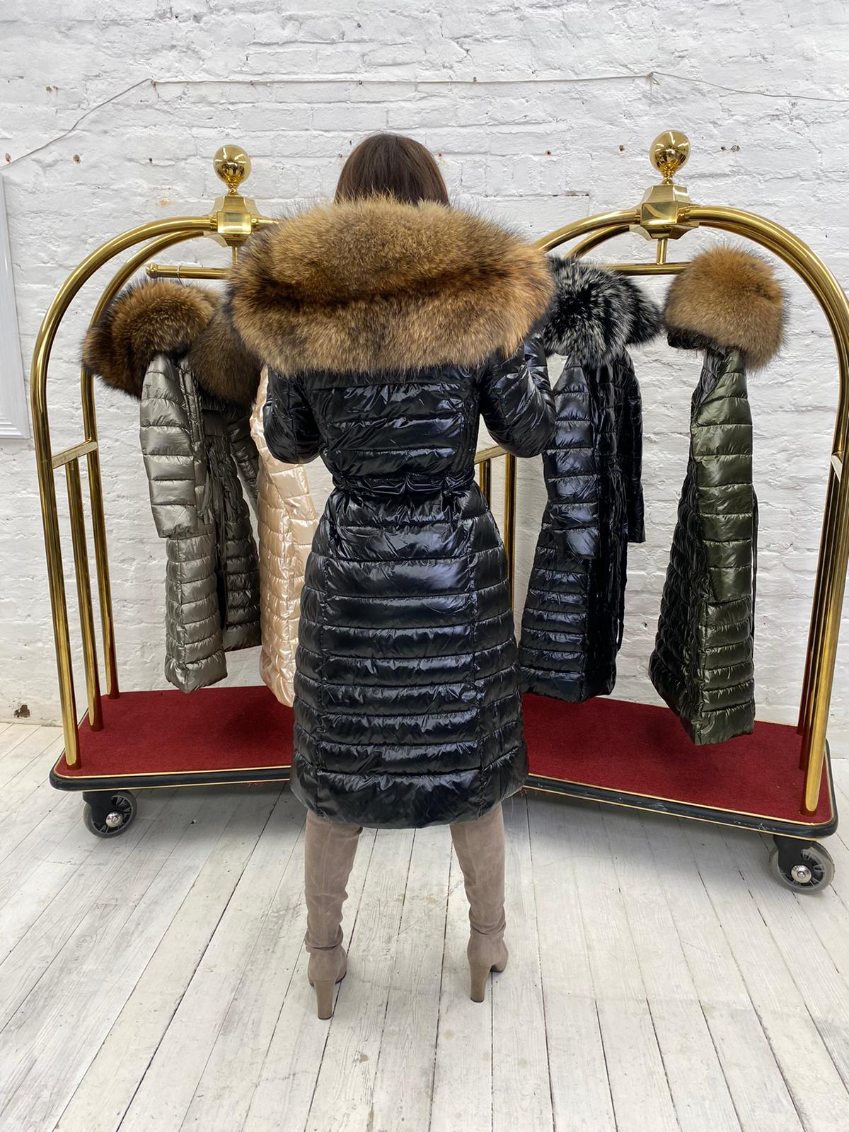 Limited Edition Laura Jane Paris 'Val Thorens' Luxury long Coat Black with Natural