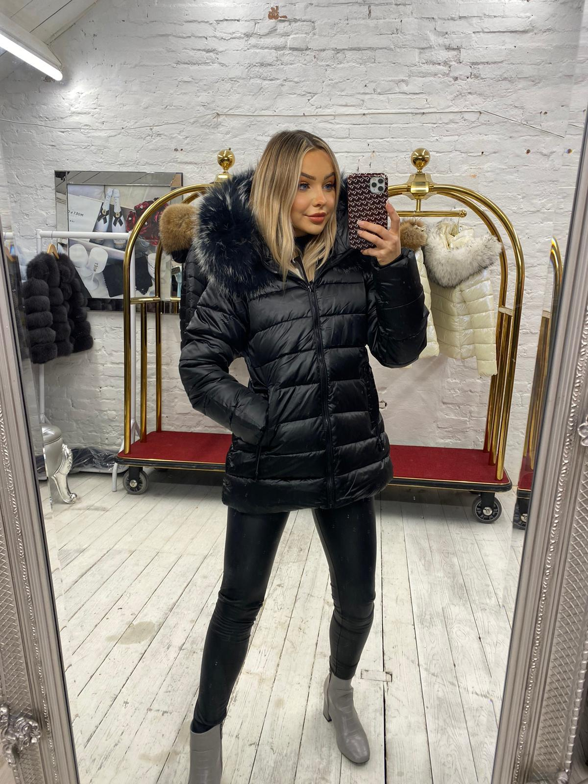 Laura Jane Paris Limited Edition 'Milan' Fox Fur Coat Black with Silver fox