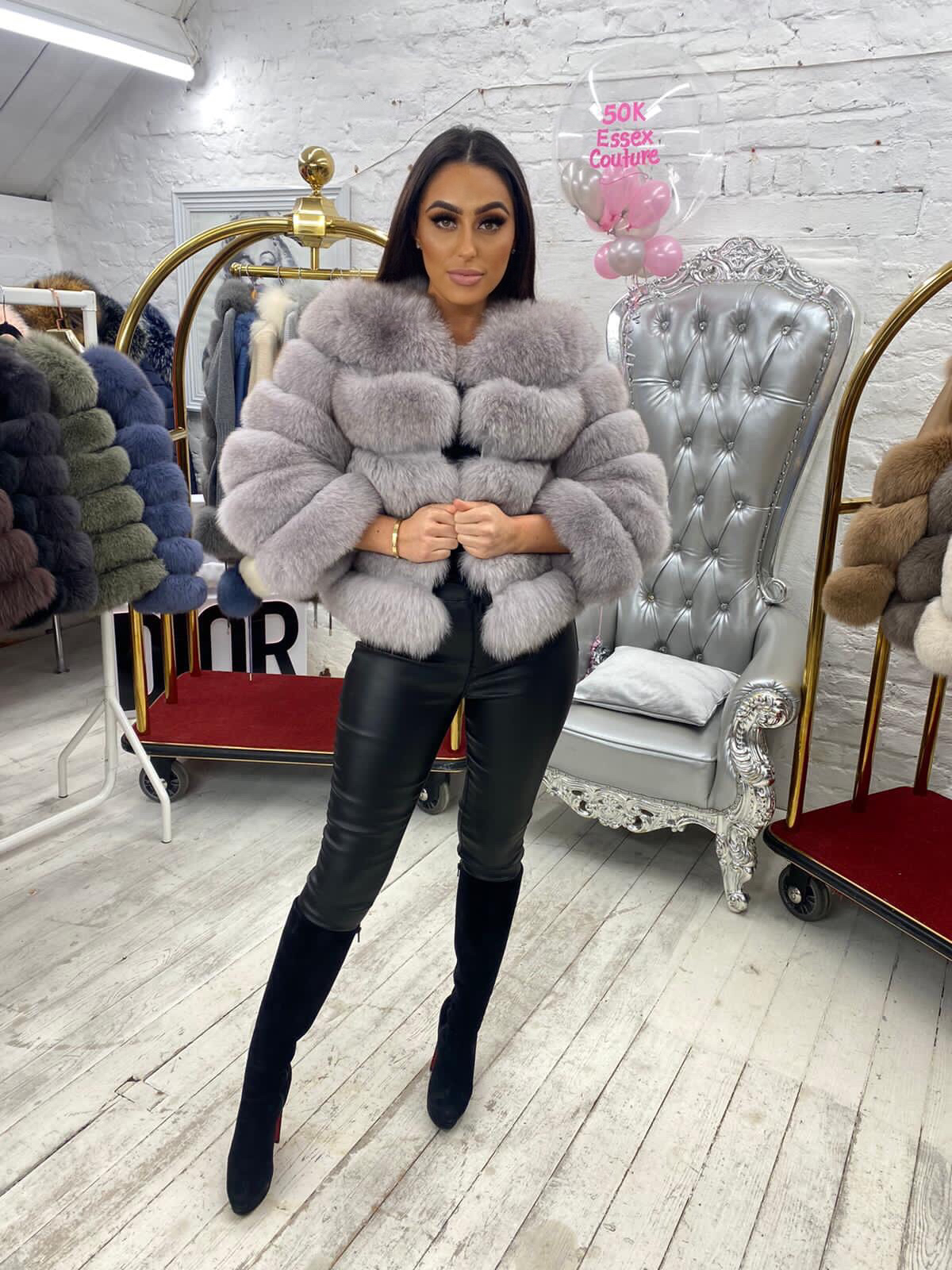 Laura Jane Paris Luxury Fox Fur Coat in Royal marble grey