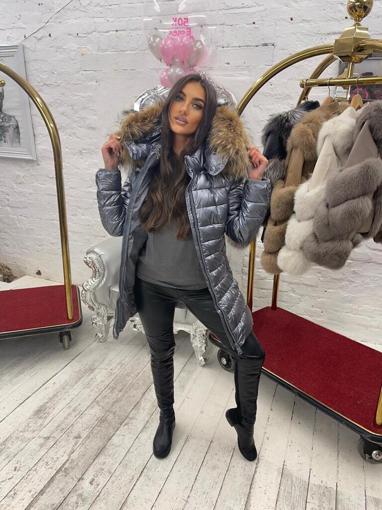 Laura Jane Paris 'Chamonix' Metalic with natural fox fur hood