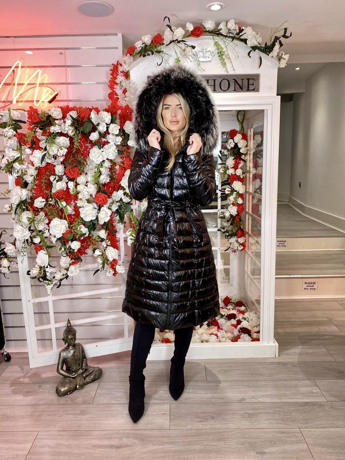 Laura Jane Paris 'Val Thorens' Luxury Xlong Coat in Black with Silver Fox