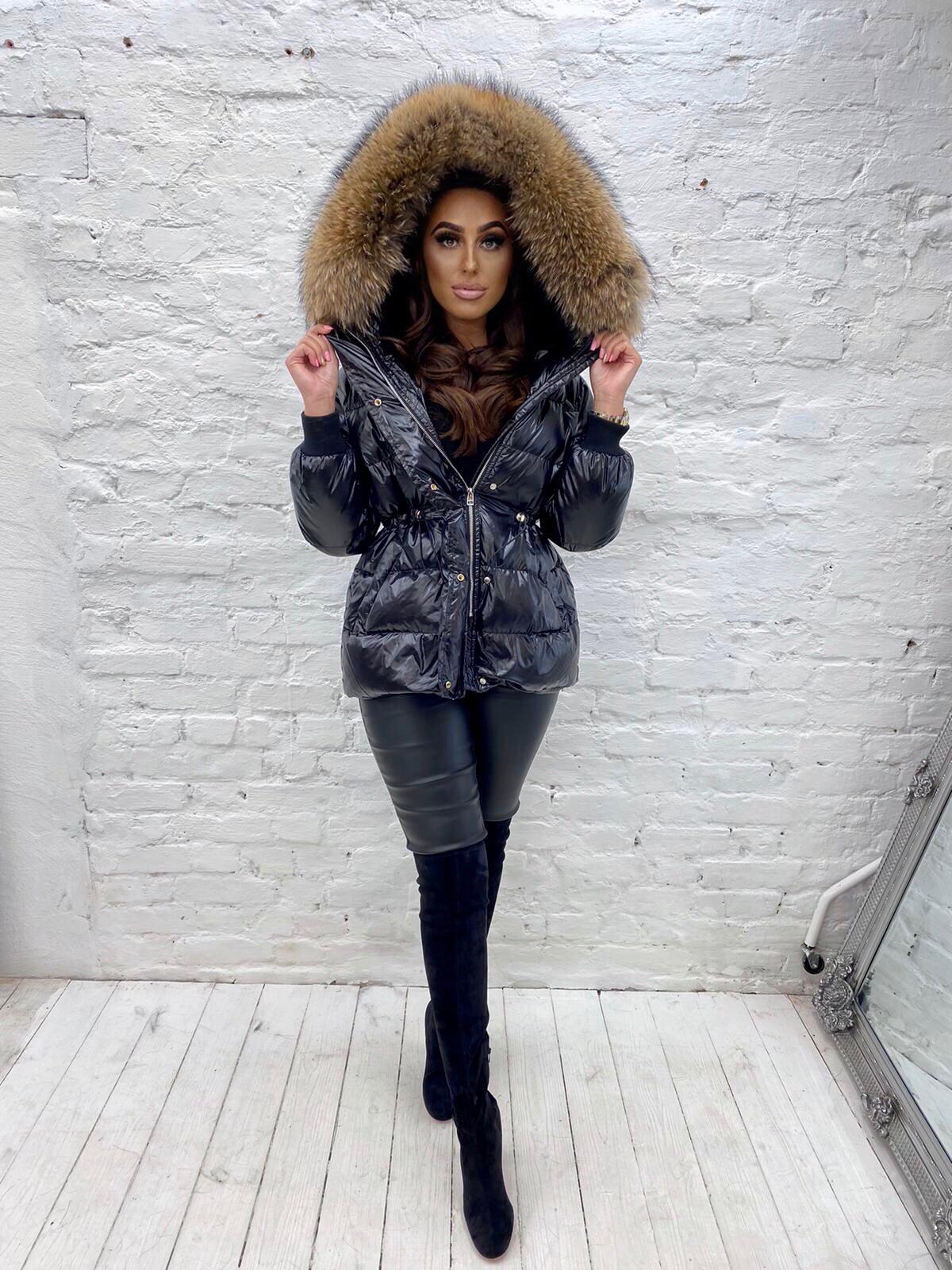 Laura Jane Paris 'Val D'isere' luxury fox fur coat black with natural
