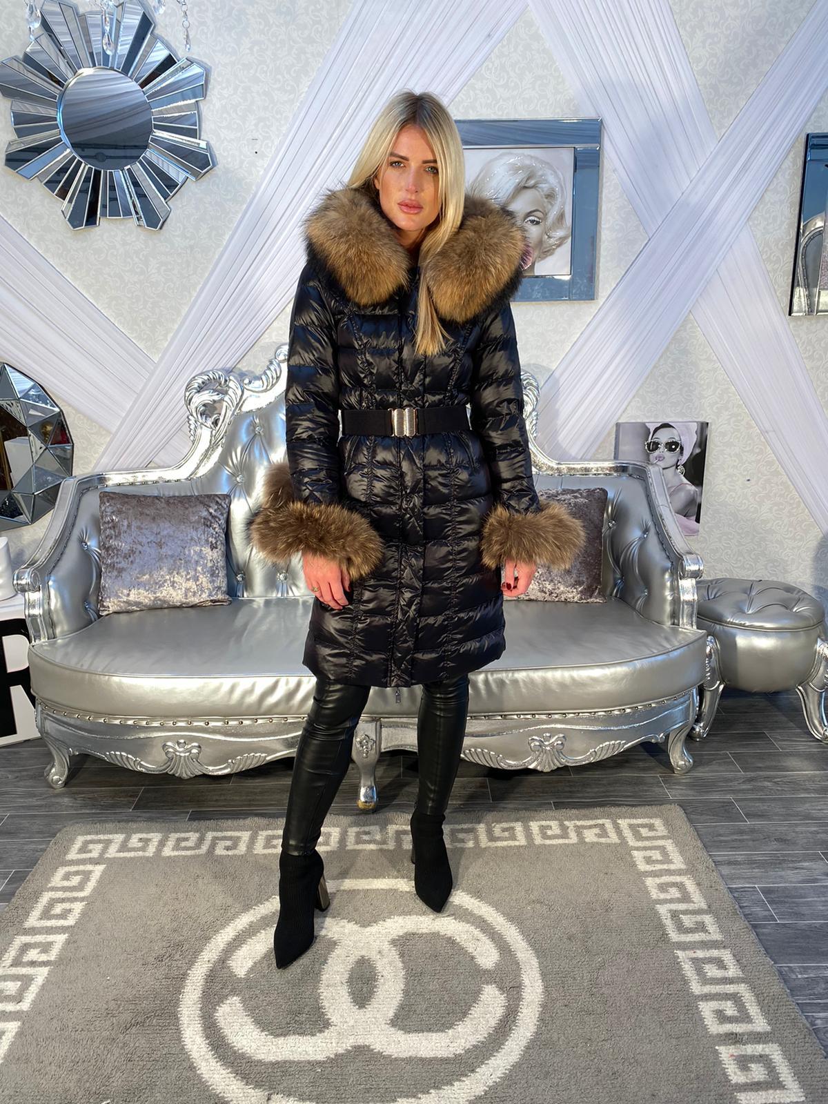 Laura Jane Paris Luxury longue Coat B/N