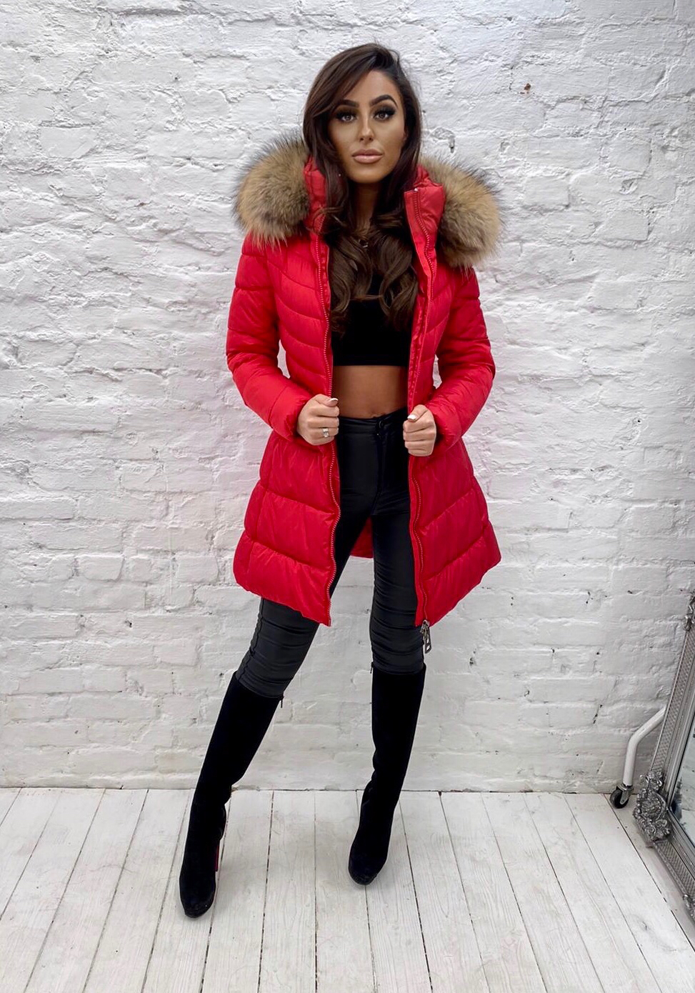 Laura Jane Paris 'Annecy' coat red with natural