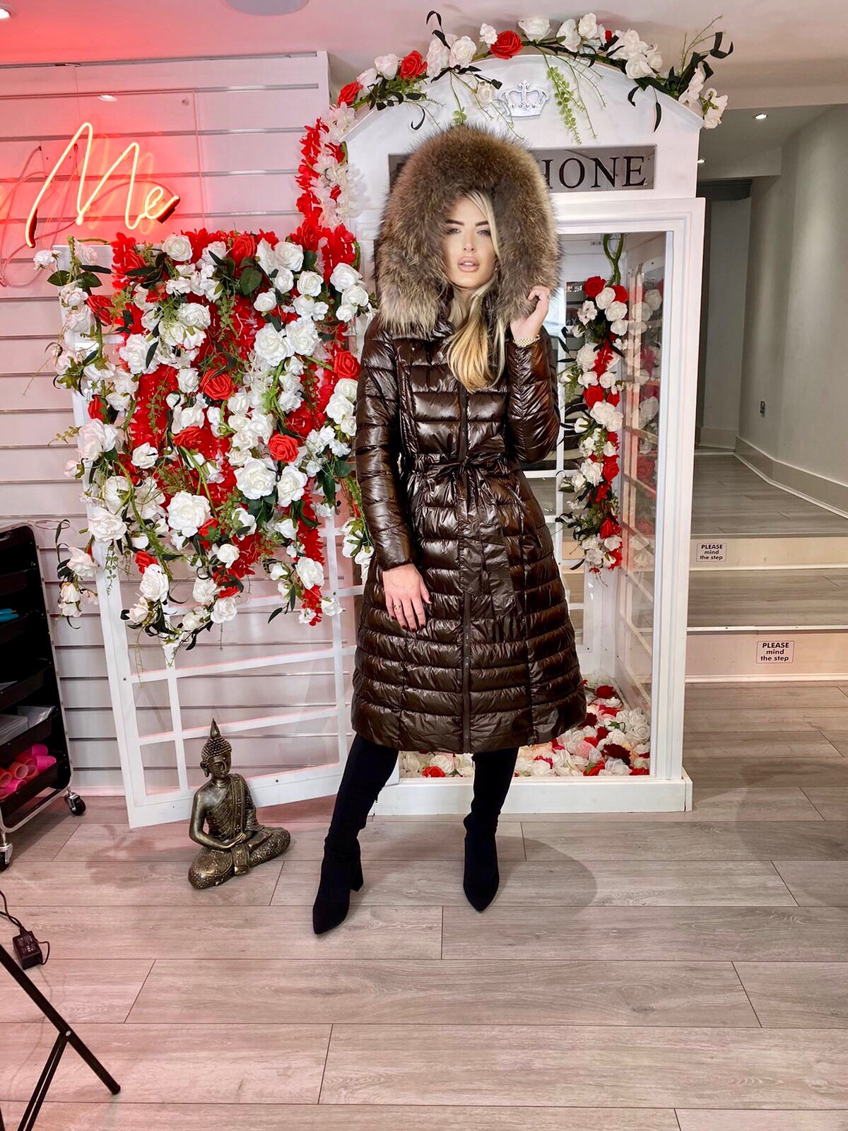 Laura Jane Paris 'Val Thorens' Luxury Xlong Coat in Brown with natural fur
