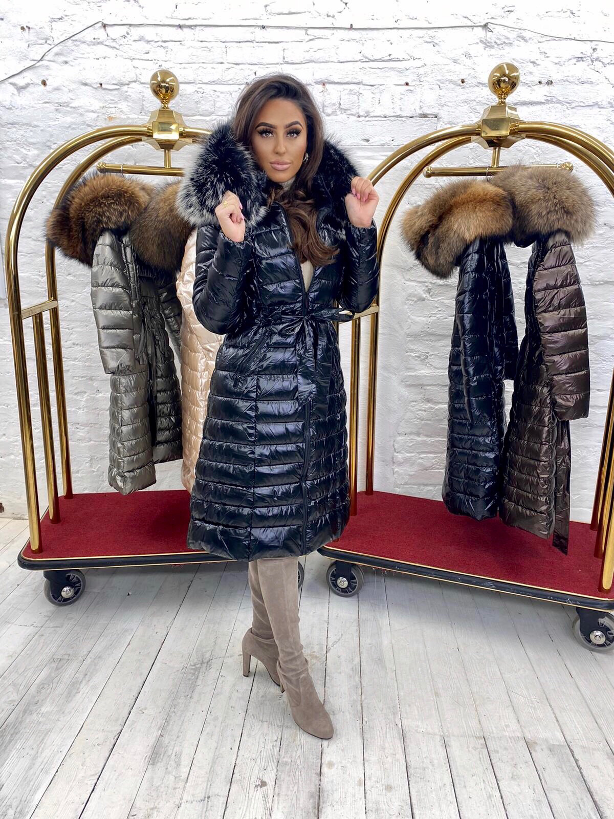 Limited Edition Laura Jane Paris 'Val Thorens' Luxury long Coat black with silver fox