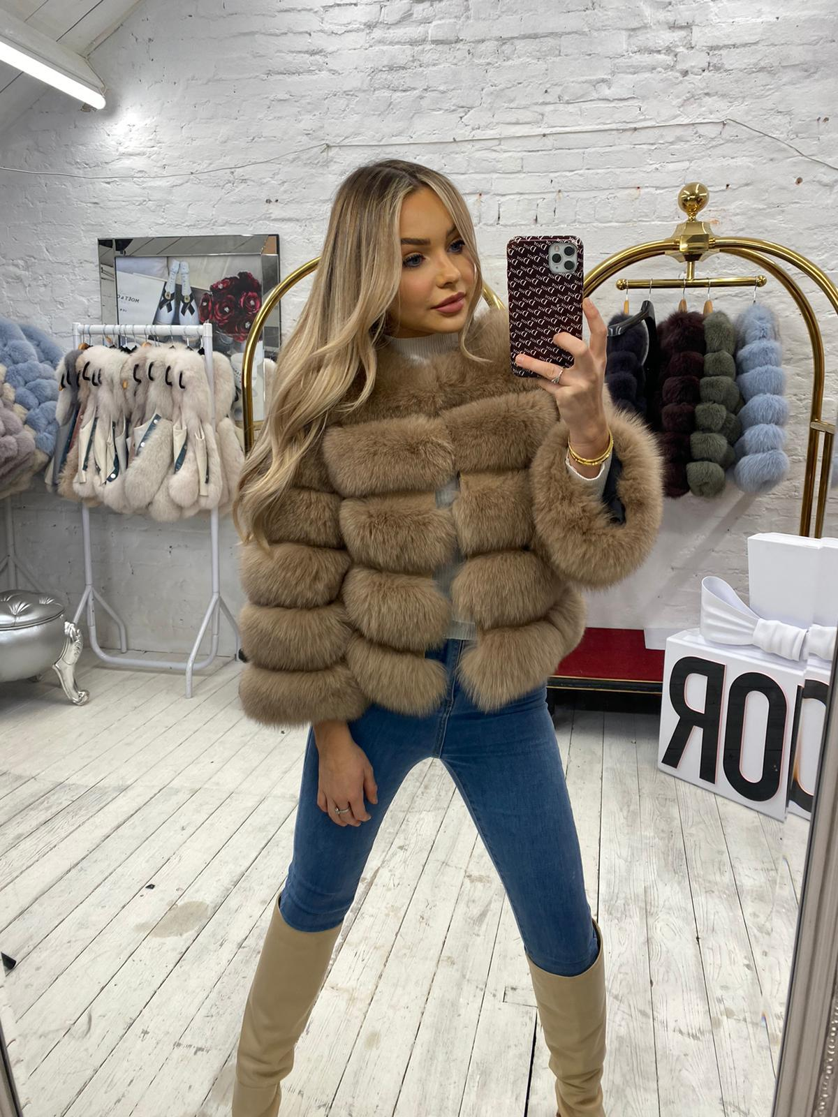 Laura Jane Paris Fox Fur Coat in royal camel