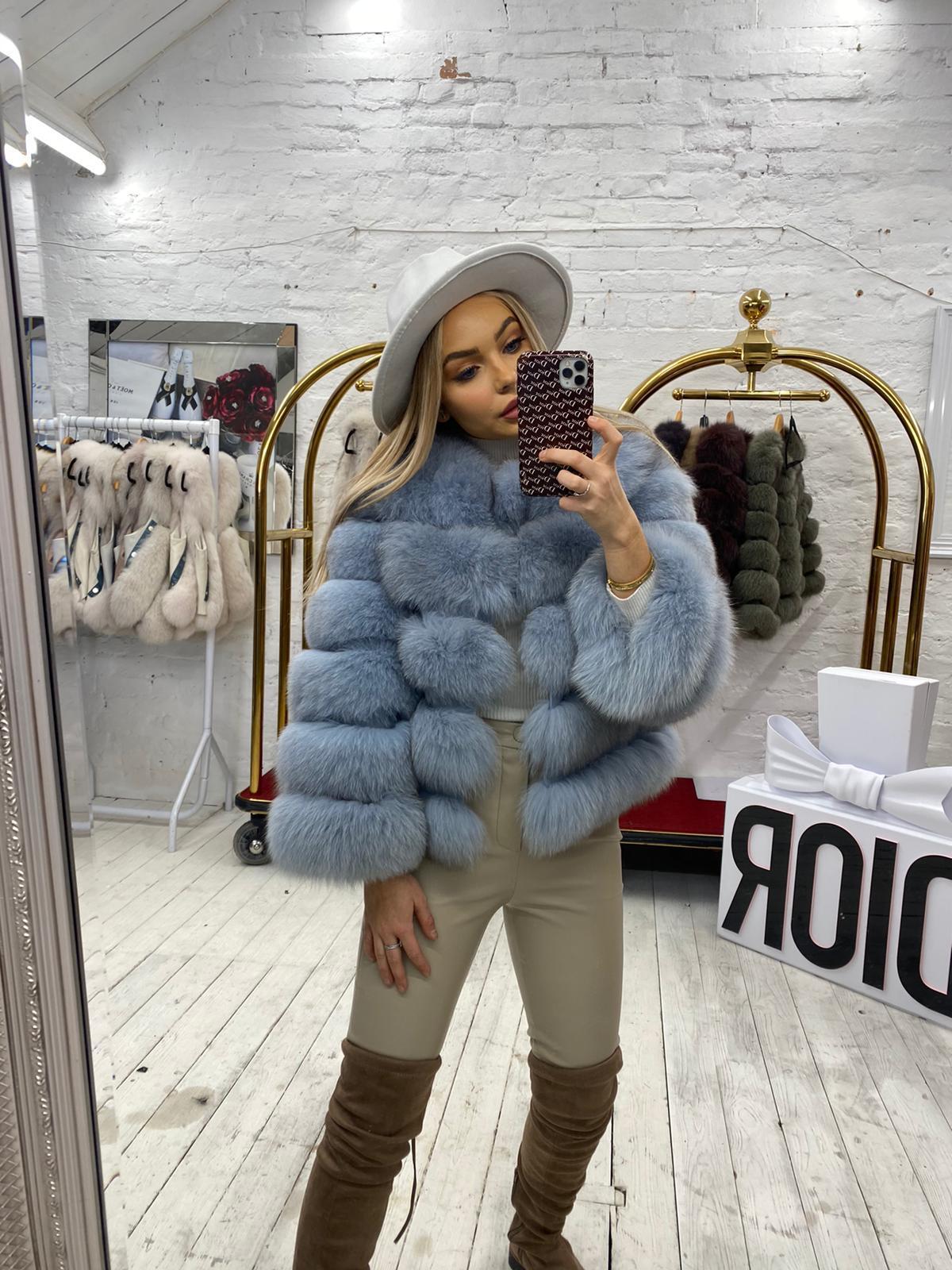 Laura Jane Paris fox Fur Coat blue