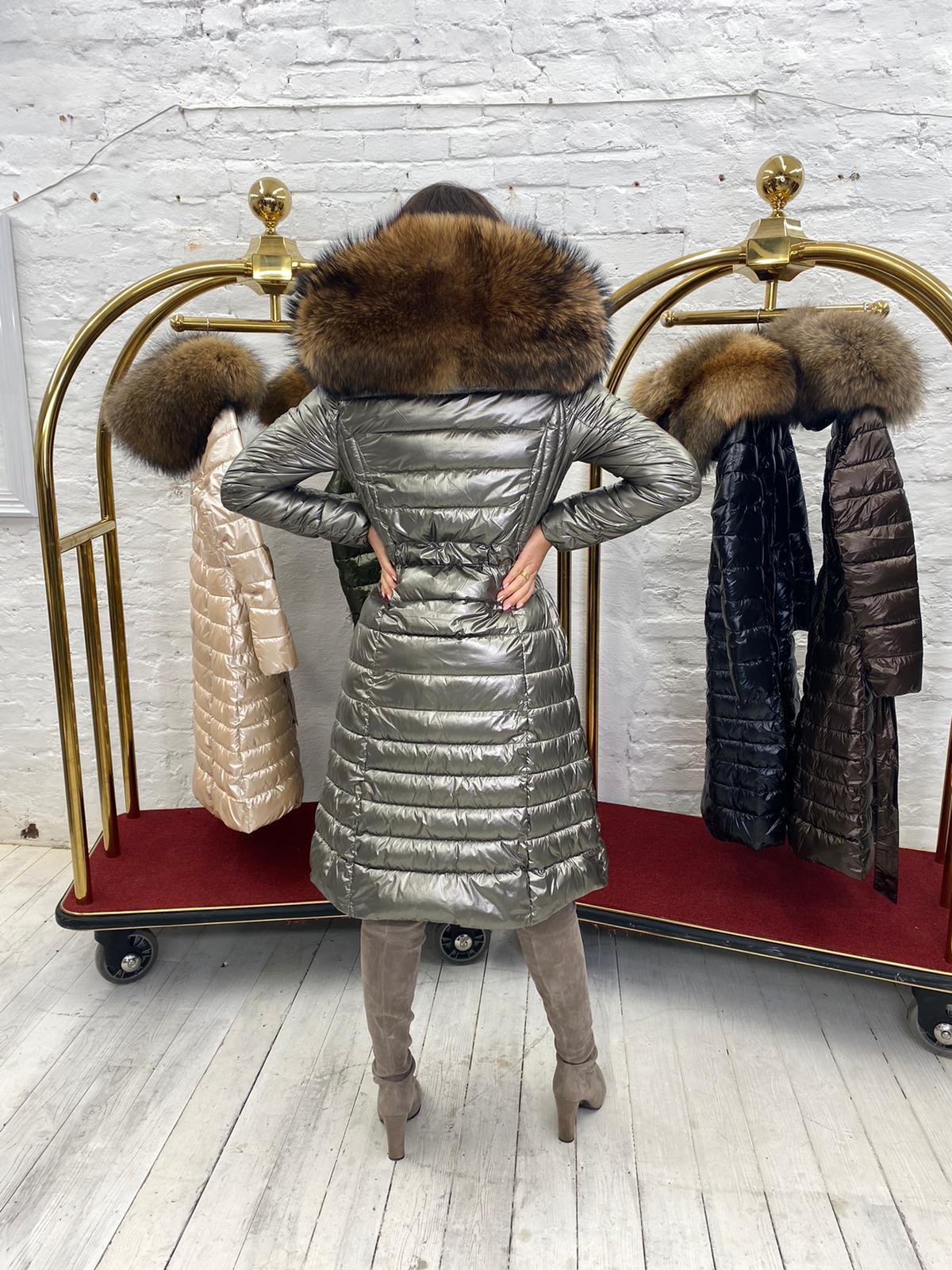 Limited Edition Laura Jane Paris 'Val Thorens' Luxury long Coat metalic with metalic