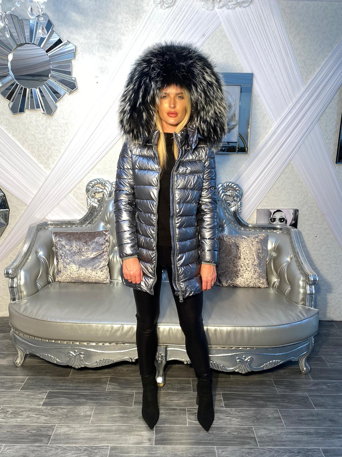 Laura Jane Paris 'Chamonix' Fox Fur Coat (metalic with Silver fox)