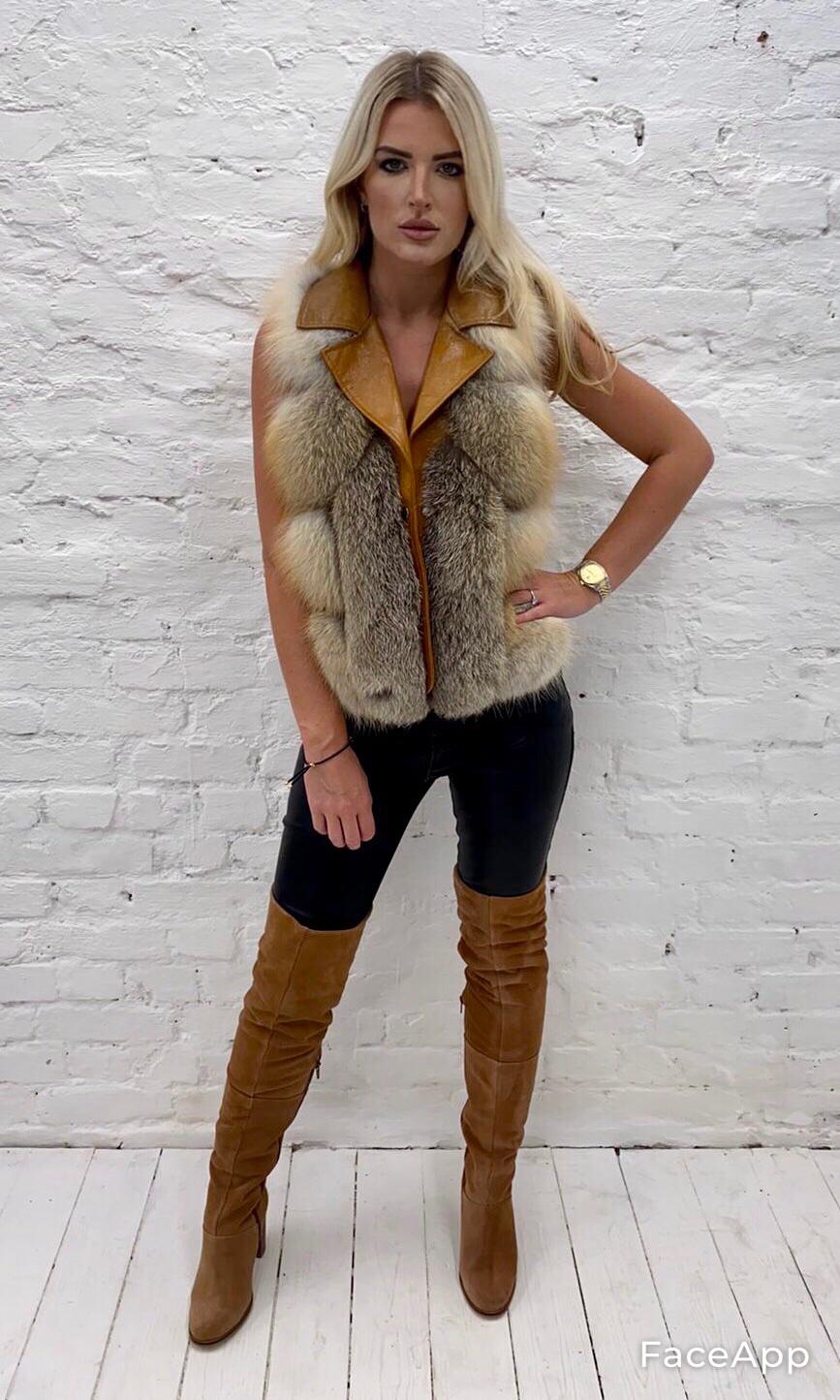 Laura Jane Paris Luxury Cross Fox And Leather Vest (Wild Beige)