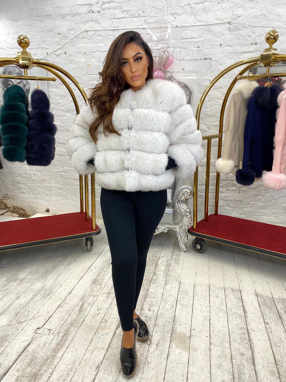 LIMITED EDITION Laura Jane Paris Fox Fur Coat in Royal Snow