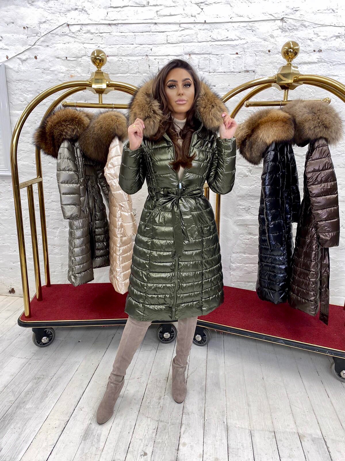 Limited Edition Laura Jane Paris 'Val Thorens' Luxury long Coat kaki with natural