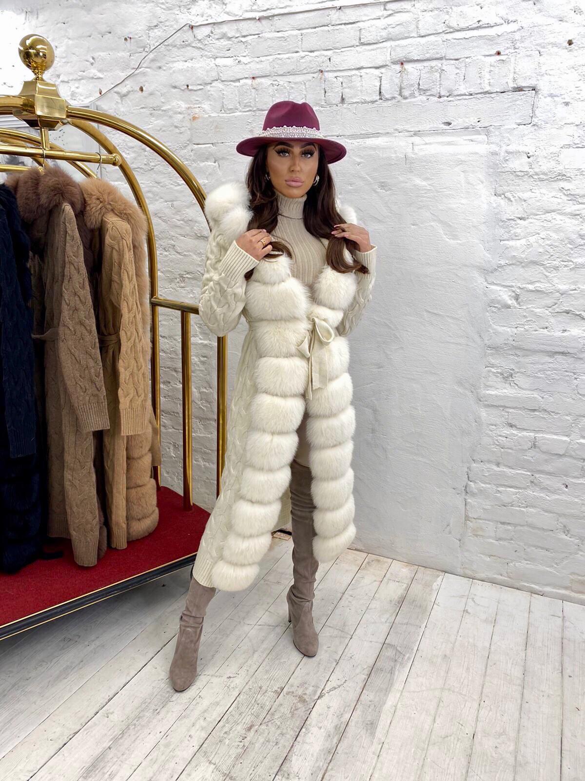 Courtney Smith Luxury Ecrue wool cardigan with ecrue fox fur