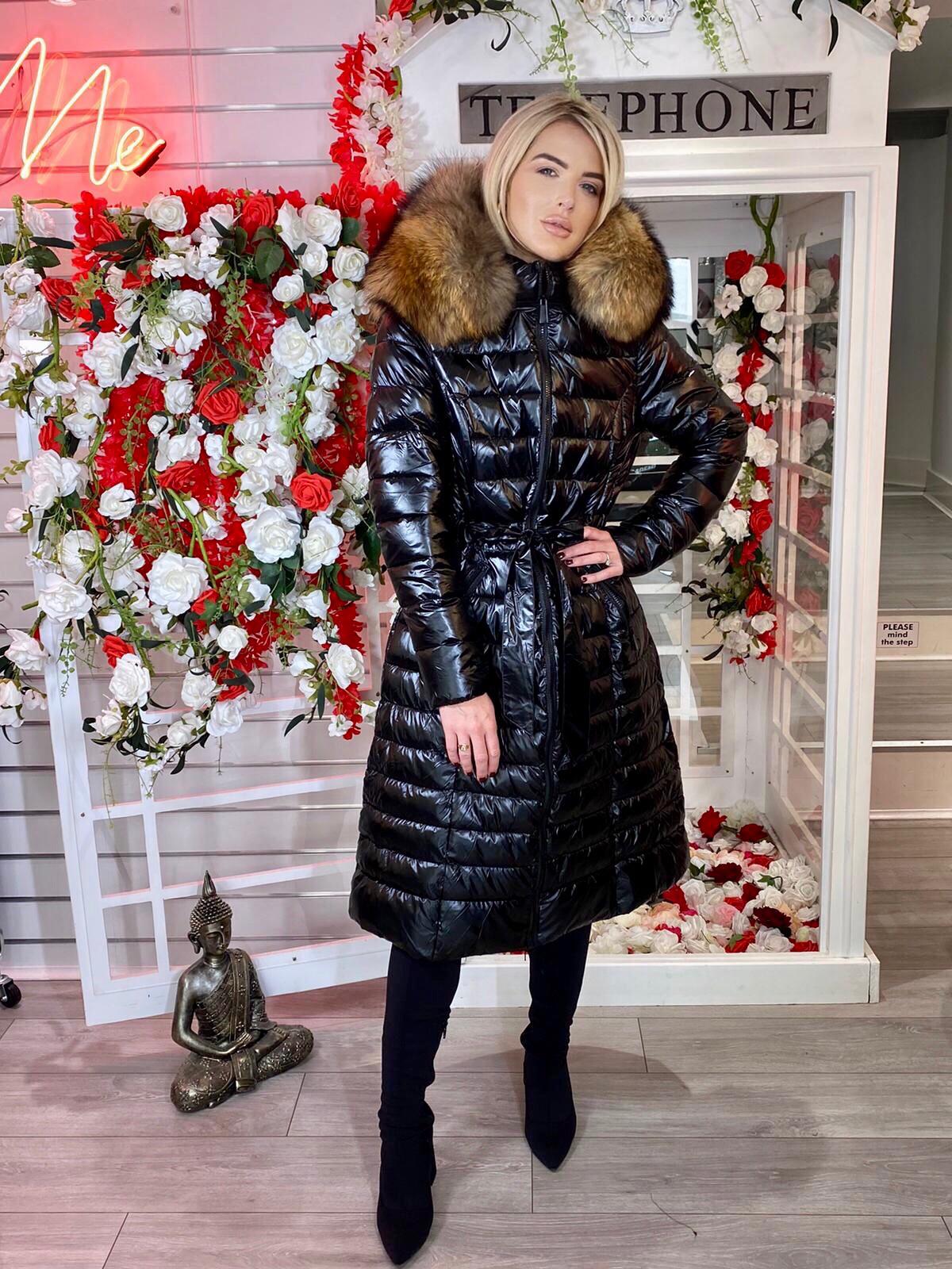 Laura Jane Paris 'Val Thorens' Luxury Xlong Coat in Black with Natural