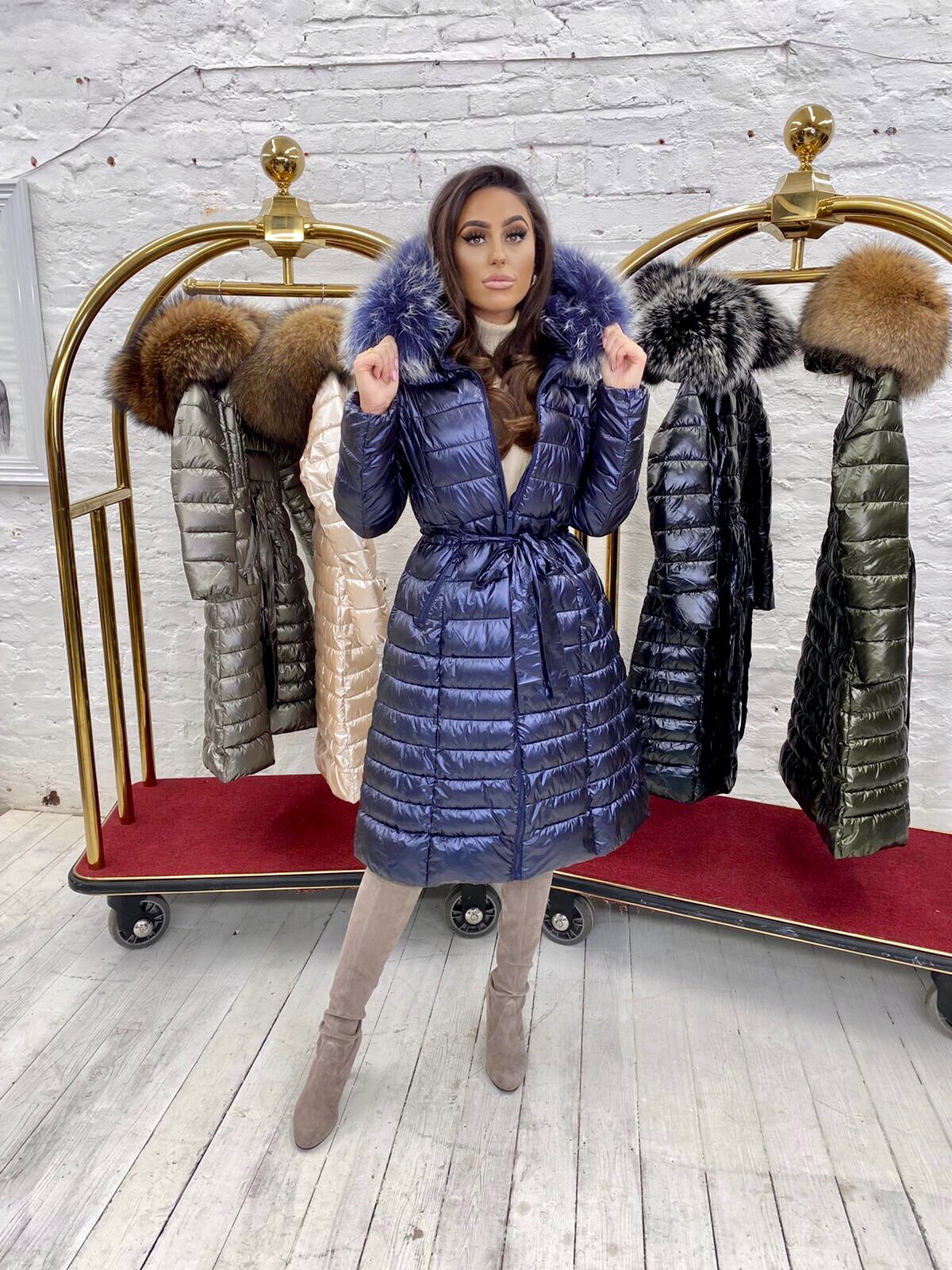 Limited Edition Laura Jane Paris 'Val Thorens' Luxury long Coat Navy with Navy