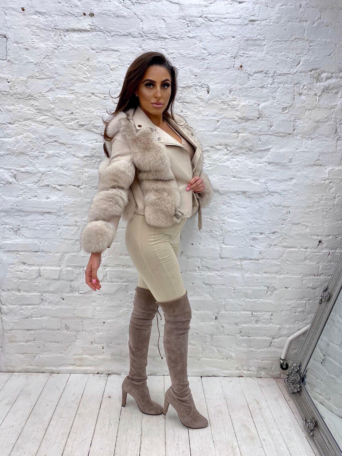 Laura Jane Paris 'Bond Street' Leather jacket Blue fox