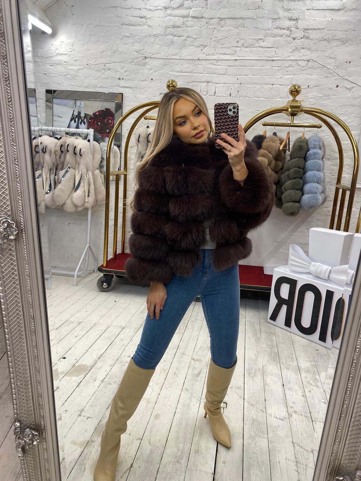 Laura Jane Paris fox Fur Coat Brown
