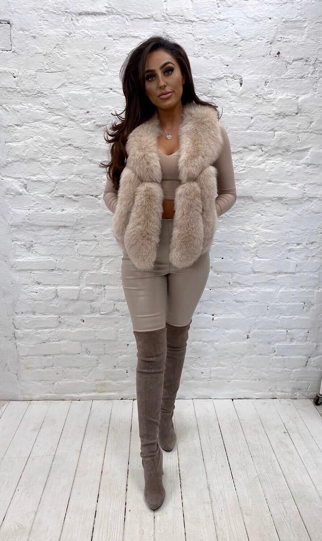 Laura Jane Paris 'Moscow' fox fur gillet in beige