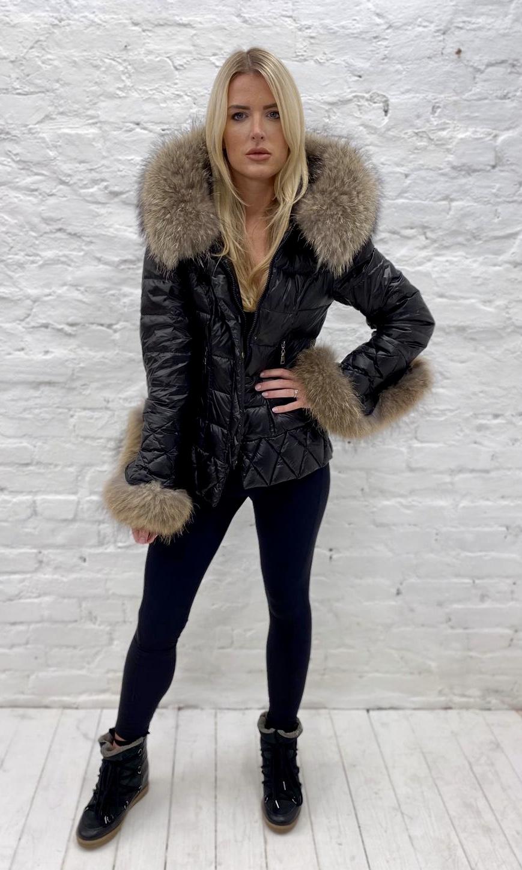 Laura Jane Paris Luxury Fox Fur Down Coat, B/N