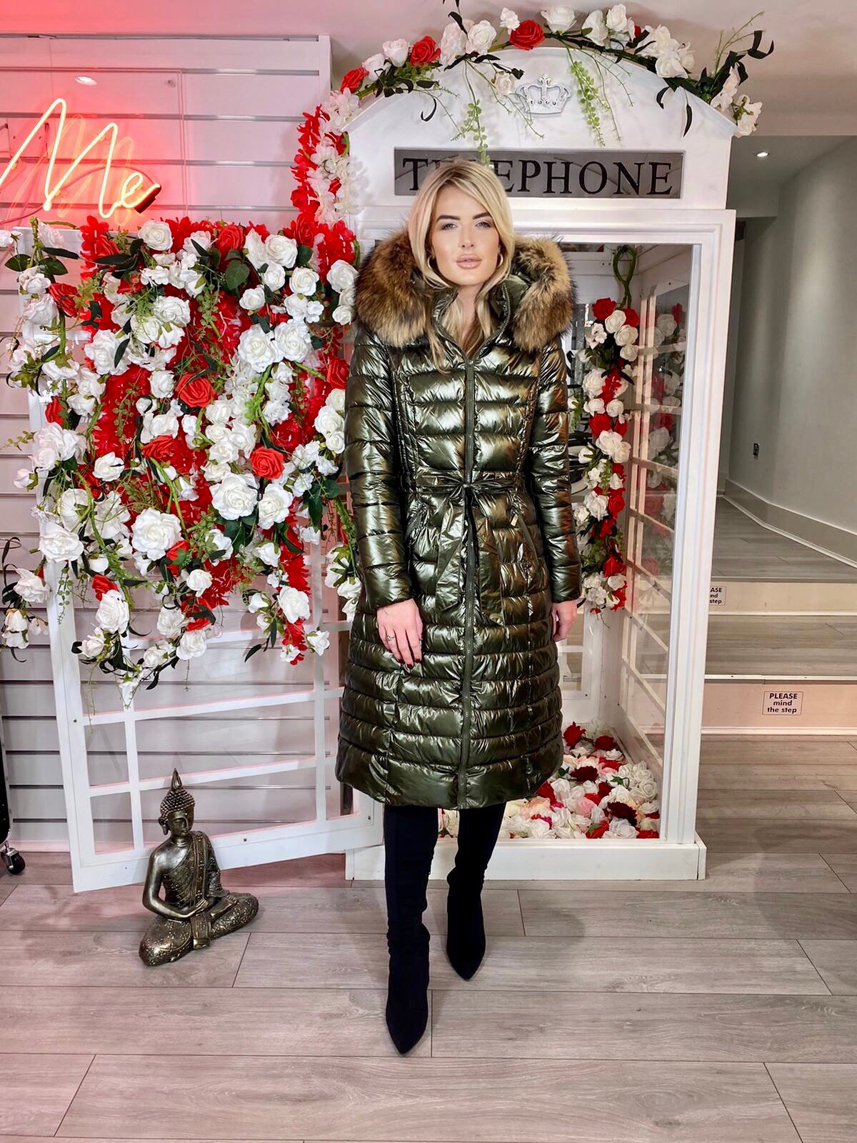 Laura Jane Paris 'Val Thorens' Luxury Xlong Coat Kaki With Natural