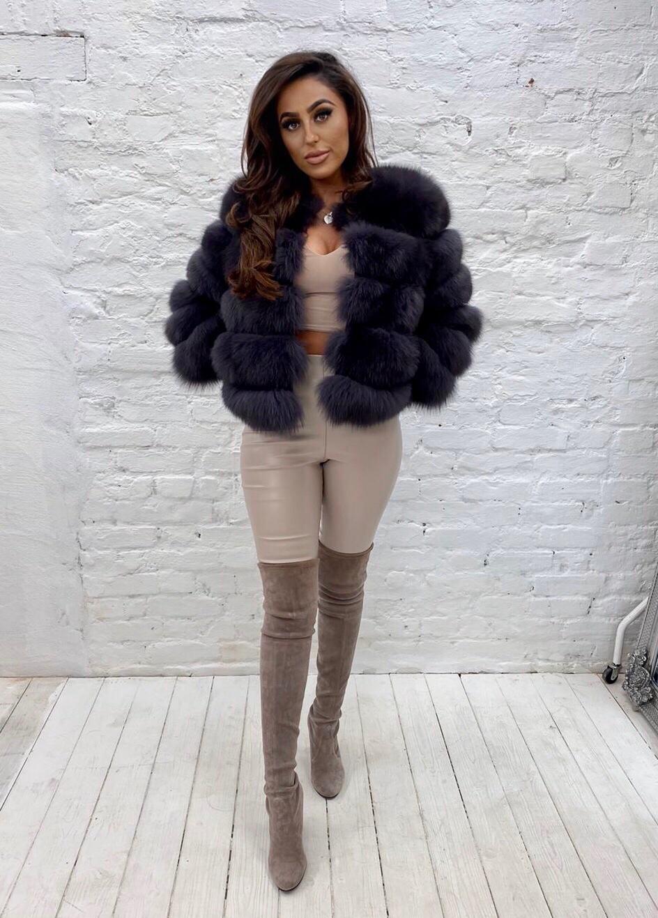 Laura Jane Paris fox fur coat in royal dark grey