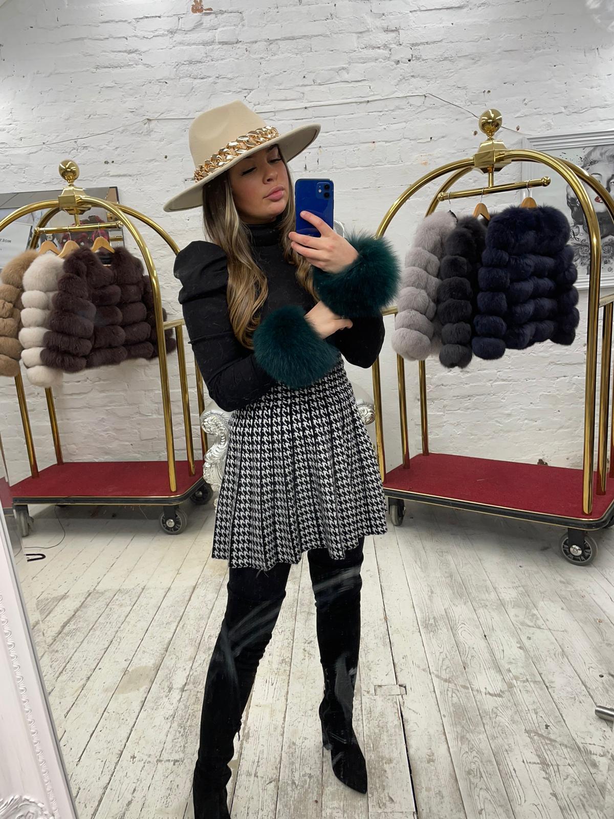 Laura Jane Paris Luxury Slap Fox Fur cuff in Royal Green