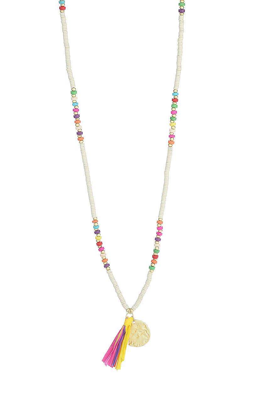 Lange Halskette mit buntem Bast-Tassel
