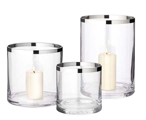 """Windlicht/Vase """"Molly"""", versilberter Rand, verschiedene Größen"""