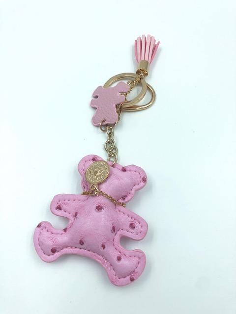 """Schlüsselanhänger Leder """"Teddy"""" mit Karabiner & Quaste"""