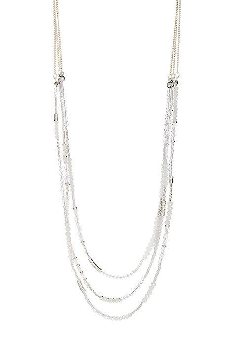 Halskette, weiss-silber